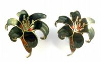 Vintage Cloisonne Enamel Orchid Flower Clip On Earrings.